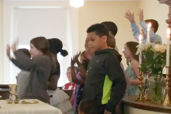 Children's Choir sings during sanctuary rededication